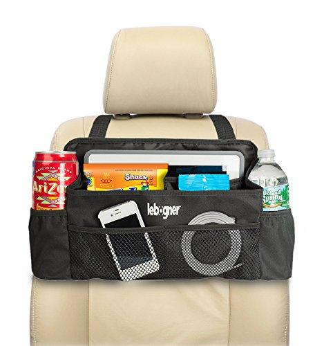 lebogner #1 Luxury CAR Organizer, Perfect Front Seat Organizer, Driver Organizer, Backseat Organizer, Car Seat Organizer for Kids, Black.
