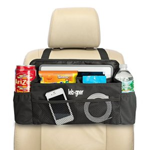 lebogner #1 Luxury CAR Organizer, Perfect Front Seat Organizer, Driver Organizer, Backseat Organizer, Car Seat Organizer for Kids, Black.