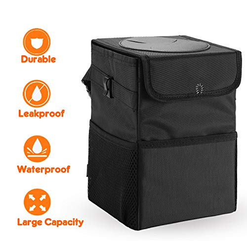 Upgraded Car Trash Can with Lid and 3 Storage Pockets, 100% Leak-Proof Car Organizer, Waterproof Car Garbage Can, Multipurpose Trash Bin for Car -Auto Car Trash Bag Black 2.4 Gallons