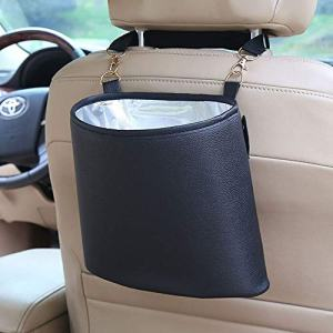 HerMia Hanging Car Trash Can Bin, Hanging Car Garbage Can PU Leather, Waterproof Litter Auto Trash Can for Travelling, Outdoor, and Vehicle (Black)