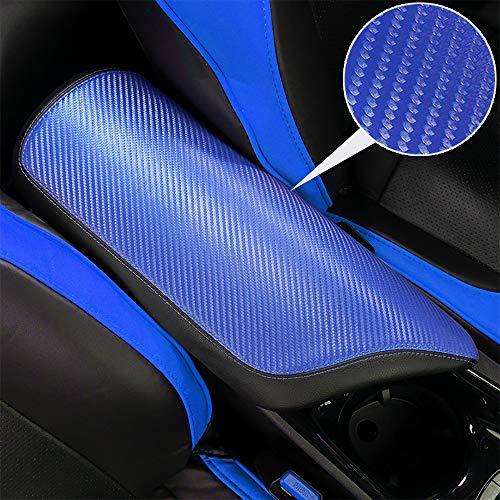 BeHave Autos CHR Armrest Cover Carbon Fiber Pattern Armrest Box Cover fit for Toyota CHR 2018 2019 Central Console Armrest Box, Blue Carbon Fiber Pattern with Black Stitches