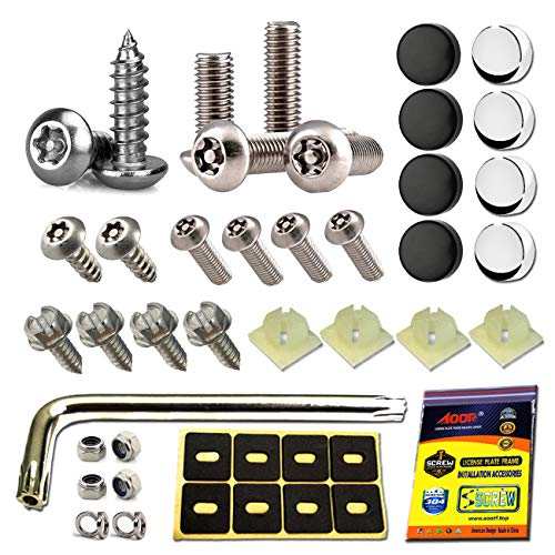 Aootf Anti Theft License Plate Screws - Stainless Steel Tamper Resistant Locking License Plate Security Screws Fasteners Securing License Plate Frame Cover on Cars Trucks