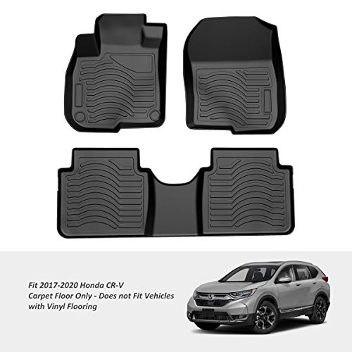 COOLSHARK Honda CRV Floor Mats, Custom Fit Floor Liners for 2017-2020 Honda CR-V, Full Set Floor Mats All Weather Protection, Black
