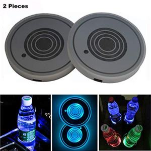 Snow Eagle-L LED Car Cup Holder Lights, 7 Colors Changing USB Charging Mat Luminescent Cup Pad, LED Interior Atmosphere Lamp