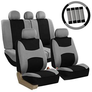 FH Group FB030115 Combo Light & Breezy Cloth Full Set Car Seat Covers (Airbag & Split Ready), Gray/Black- Fit Most Car, Truck, SUV, or Van
