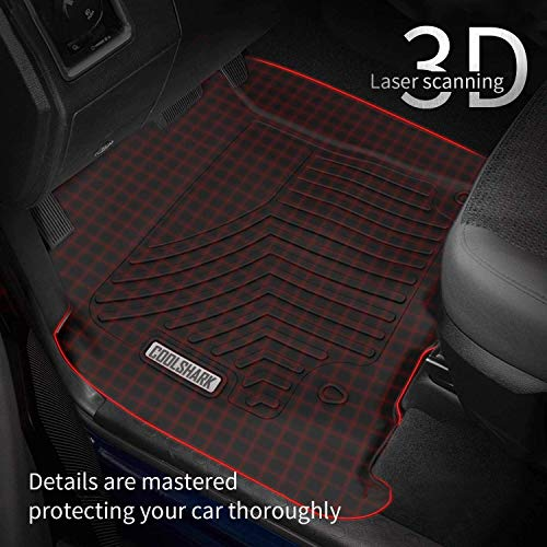 Floor Liners for 2015-2020 Ford F150 Crew Cab COOLSHARK Ford F150 Floor MATS, Custom Fit Floor Liners for 2015-2020 Ford F150 Crew Cab (4 Doors), Front and Rear Rows Full Set All Weather Protection, Black
