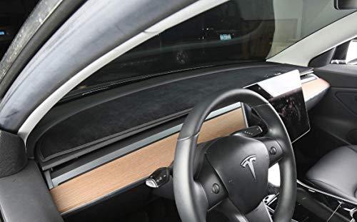 Dashboard Rim Center Console Cover Mat Protector Sunshield Light Pad Custom Fit Tesla Model 3 (Black(Front))