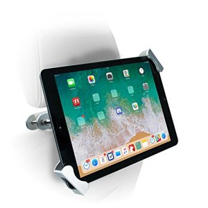 CTA DigitalPAD-CHTSCar Headrest Mount, Anti-Theft Tablet Holder for Vehicles, Rotating Back Seat Mount for iPad 10.2-inch, iPad Pro/iPad Mini, iPad Gen 6/iPad 5, iPad Air/Galaxy, More, Silver