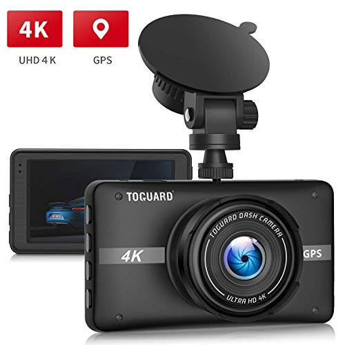 TOGUARD 4K UHD Dash Cam Built-in GPS Dash Camera, 3'' LCD Screen 170° Wide Angle Car Driving Recorder with Night Vision, 24Hs Parking Mode, G-Sensor, Time Lapse