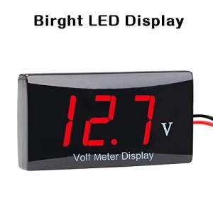 Zealforth DC 12V Digital Voltmeter - LED Display Voltage Volt Meter Gauge for Car Motorcycle (red)