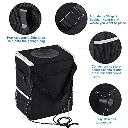 Portable Car Garbage Bag Can Hanging for Headrest with 3 Storage Organizer CAHTUOO Car Trash Can with Lid, Portable Car Garbage Bag Can Hanging for Headrest with 3 Storage Organizer Pockets-100% Leak-Proof Vinyl Inner Lining