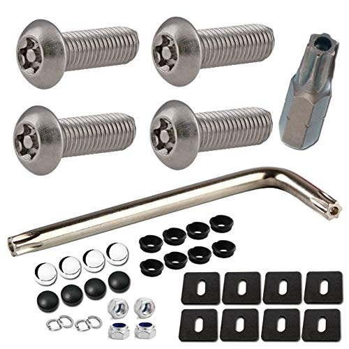 """License Plate Screws Anti Theft - 38PC Bulk M6 3/4"""" Stainless Steel Tamper Resistant License Plate Bolts Nuts Lock Fasteners and Black & Chrome Caps for Acura, Audi, BMW, Tesla etc. License Plates"""