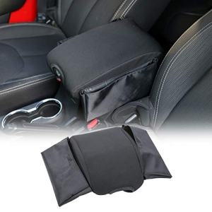 RT-TCZ Center Console Armrest Pad Cover with Storage Bag for Jeep Wrangler JK & Unlimited Sahara Sport Rubicon 2011-2018
