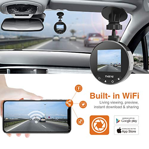 THiEYE Dash Cam WiFi, Dashcam for Car Driving Recorder 1080P FHD LCD Screen Driving Recorder, Phone App, Night Vision, Wide Angle Lens, G-Sensor, WDR, Loop Recording, SD Card Included