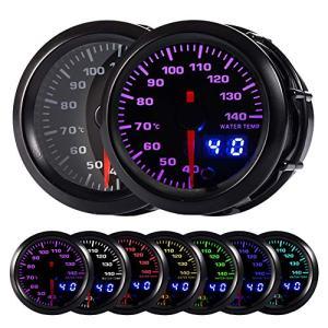 "HOTSYSTEM 7 Color Water Coolant Temperature Gauge Kit 40-140 Celsius Pointer & LED Digital Readouts 2-1/16"" 52mm Black Dial for Car Truck"