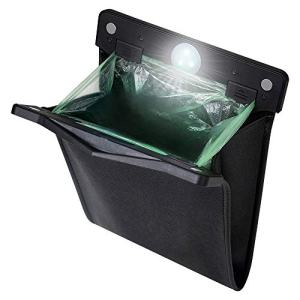 yicheyiyou Smart LED Car Trash Can Waterproof Garbage Bag Passenger Side Artificial Leather Storage Pocket Leak Reusable Traveling Portable Offices Toilet Garbage Cans(Black-1pack)
