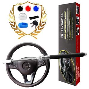 Tevlaphee Steering Wheel Lock For Cars,Wheel Lock,Vehicle Anti-Theft Lock,Adjustable Length Clamp Double Hook Universal Fit Emergency Hammer Window Breaker Self Defense Heavy Duty Secure