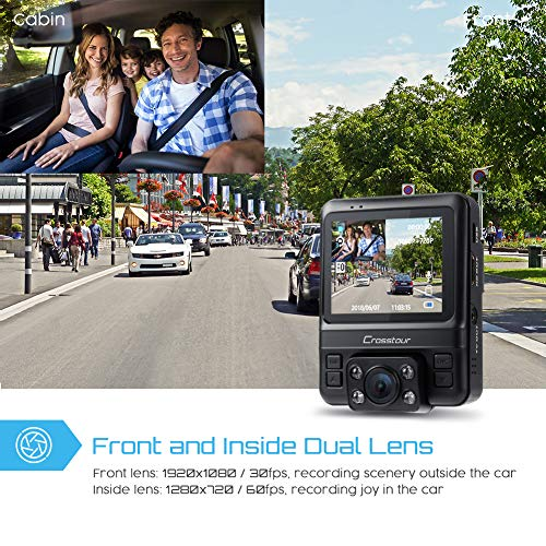 Uber Dual Lens Dash Cam Built-in GPS Car Uber Dual Lens Dash Cam Built-in GPS Car Camera Crosstour 1080P Front and 720P Inside with Parking Monitoring, Infrared Night Vision, Motion Detection, G-Sensor and WDR