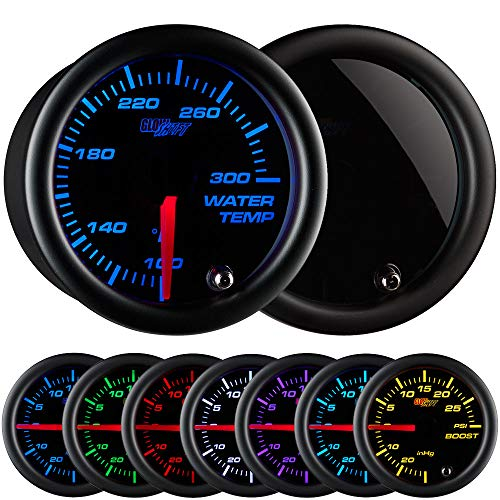 """GlowShift Tinted 7 Color 300 F Water Coolant Temperature Gauge Kit - Includes Electronic Sensor - Black Dial - Smoked Lens - For Car & Truck - 2-1/16"""""""