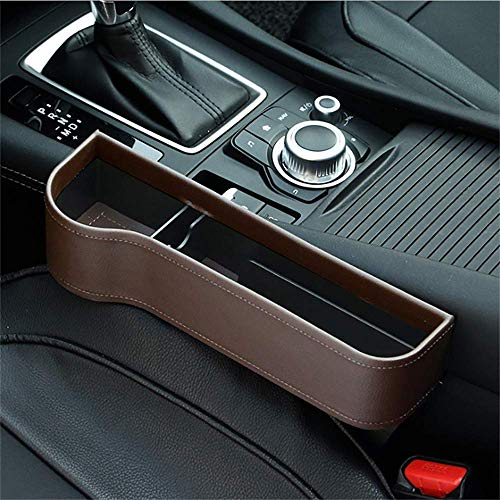 washidai Car Seat Pockets PU Leather Car Console Side Organizer Seat Gap Filler Catch Caddy Brown(1 Pack)