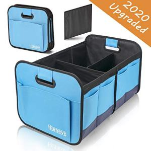 Homeve Car Trunk Organizer, Collapsible Storage Box, Perfect for Any Car SUV Trunk Size, Blue