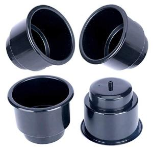 Amarine Made (Set of 4) Black Recessed Drop in Plastic Cup Drink Can Holder with Drain for Boat Car Marine Rv - Black