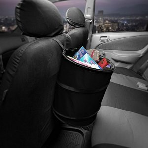 FH Group FH1121BLACK Black Car Garbage Trash Can (Collapsible and Compact Size Large)