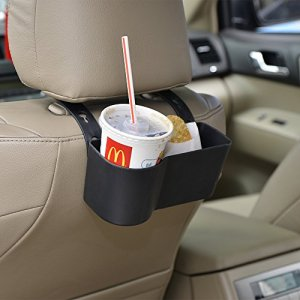 Car Headrest Seat Back Organizer Cup Holder Drink Pocket Food Tray Universal Liberate Your Hands. for a More Convenient Time in Your Car(Black)