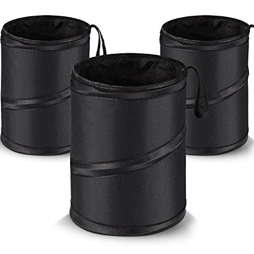 3 Packs Car Trash Can Bag Car Garbage Holder Container Traveling Portable Garbage Bin Collapsible Pop-up Water Proof Bag Waste Rubbish Bucket for Cars (Black)