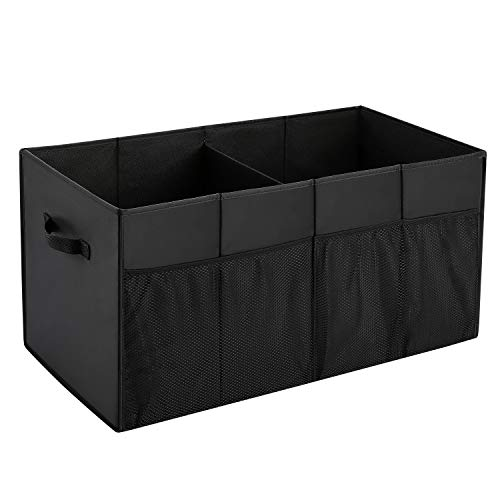 MaidMAX Trunk Organizer for Car SUV Storage with Two Handles and Side Pockets, Foldable, Black, 25.5 Inches Long