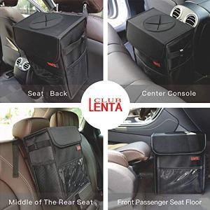 Car Garbage Can with Lid Multipurpose Trash Bin for Car Portable Car Trash Bag with Storage Pockets Hanging Car Trash Can100% Leak-Proof Car Organizer (Black)