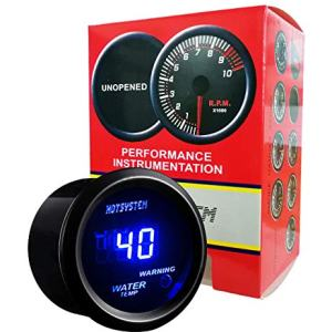HOTSYSTEM Universal Water Temp Gauge Temperature Meter Blue Digital LED DC12V 2inches 52mm for Car Automotive(Celsius)