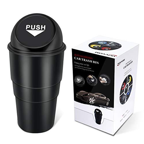 YIOVVOM Car Trash Can Vehicle Car Auto Garbage Trash Can Small Automotive Cup Holder Garbage Bin (Black)