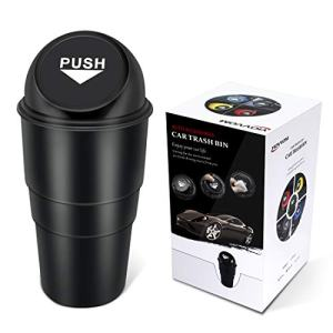 YIOVVOM Car Trash Can Vehicle Car Auto Garbage Trash Can Small Automotive Cup Holder Garbage Bin (Black)