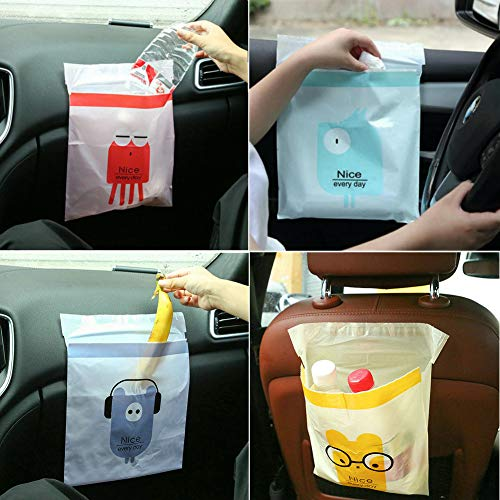 zhiweikm Portable Car Trash Bag Vomiting Bag, Sticky Leakproof Waste Bags Car Garbage Bags,Removable Trash Can for Auto Car/Office/Babyroom/Study Room/Kitchen (4 Colors 60 Pcs)