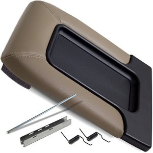 OxGord Center Console Organizer Lid - Repair Kit Best for 99-07 Silverado, Tahoe, Avalanche, Suburban, Sierra, Yukon, Escalade - Replaces GM OEM 19127366 Armrest Latch Cover Accessories - Beige