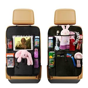 """Backseat Car Organizer Kick Mats, Car Seat Back Protectors with Clear 10"""" Tablet Holder + 5 Storage Pockets Back seat Organizer for Kids Toy Bottle Book Drink Vehicles Travel Accessories (2 Pack)"""