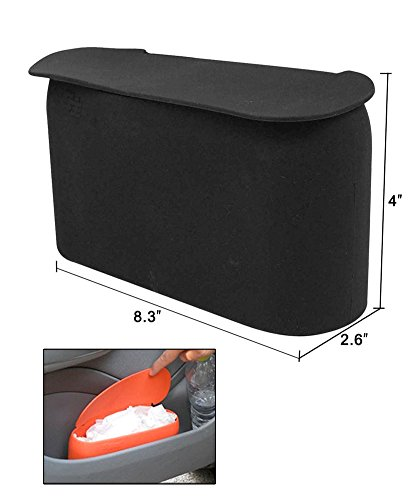 Black Small Car Trash Can with Lid JAVOedge Black Small Car Trash Can with Lid, Flexible Material, Fits in Most Side Doors