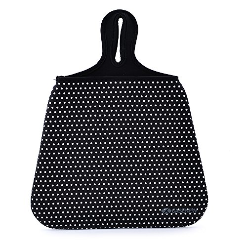 Case New Lightweight Neoprene Auto Trash Bag Sleeve Pouch/Litter Bag/Car Trash Keeper/Garbage Holder/Trash Liner Bag Case& Auto Organizer Storage Bag, Stick Shift Car Garbage Bin- White Dots