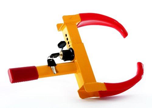 "ProSource Heavy Duty Anti-Theft Tire Wheel Clamp Lock, Yellow/Red, 21"" x 6"" x 2"""