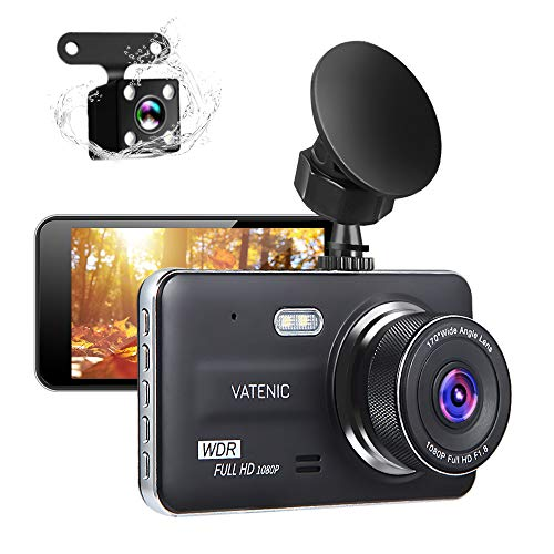 """New Upgrate Dual Dash Cam Car Camera Recorder Full HD 1080P Front and Rear Cameras,Driving Loop Recording with 4.0"""" IPS Screen 170°Wide Angle, WDR,Parking Monitor, G-Sensor, Night Vision (4.0)"""