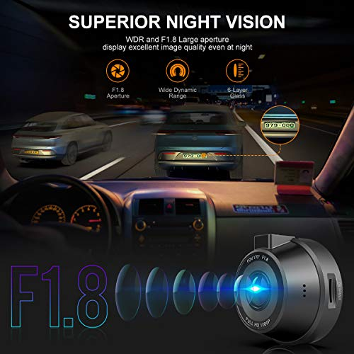 Dash Cam WiFi, WIMIUS 1080p Dash Camera for Cars Dash Cam WiFi, WIMIUS 1080p Dash Camera for Cars, Magnetic Car Camera Recorder with Loop Recording, G-Senor, WDR Night Vision, Motion Detection, Parking Monitor, 32G SD Card Included