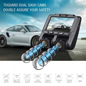 "TOGUARD Uber Dual Dash Cam Full HD 1080P+1080P Inside and Outside Car Camera Dash Cams 3"" LCD 340° Dashboard Camera with G-Sensor, WDR, Parking Monitor, Motion Detection for Truck Car Taxi"