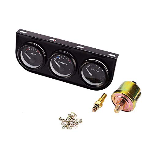 iztor 52mm Triple Gauge 3 in 1 (Voltmeter + Water Temp Gauge + Oil Press Gauge) Sensor 52mm Auto Gauge Car Meter