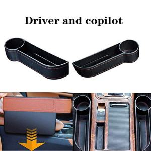 BerniceKelly Car Gap Filler Organizer,Multi-Function Leather Car Water Cup Holder Leather Seat Console Organizer Pocket Car Seat Gap Storage (Driver and Copilot)