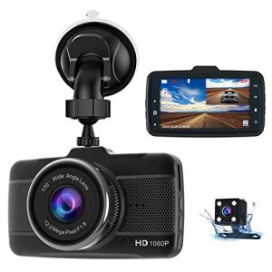 Dash Cam Front and Rear Claoner FHD 1080P Dual Dash Cam Backup Car Camera with Night Vision, 3 Inch IPS Screen, 170° Wide Angle, Loop Recording, G-Sensor, Motion Detection, Parking Monitor