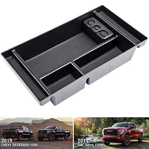 AORRO Center Console Organizer Tray Fit for 2019 Chevy Silverado 1500/ GMC Sierra 1500 Full Center Console Models Only-GM Vehicles Accessories 84106530 Armrest Box Secondary Storage