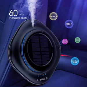 Solar Wireless USB Vehicle Air Purifier Car Humidifier Negative Ion Oxygen Bar Car Air Freshener Ionic Airs Purifier CY002