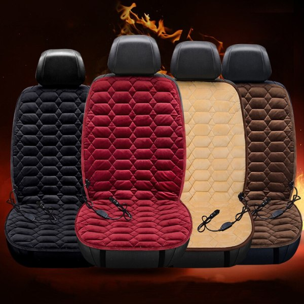 12V Heated Auto Seat Cover Plush Heater Winter Warmer