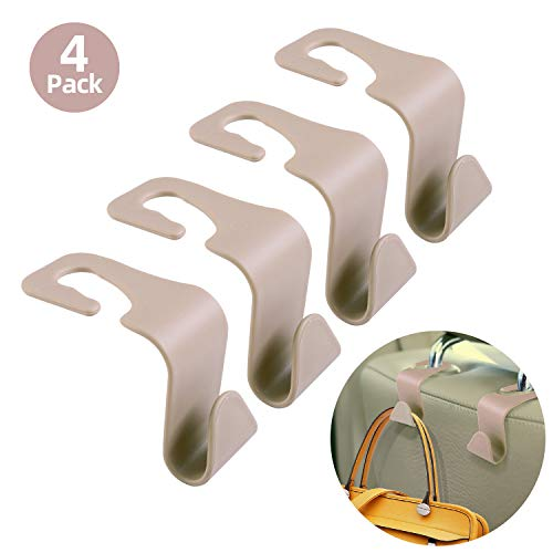 HOUSE DAY Beige Car Seat Headrest Hooks for Car